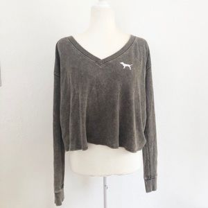 NWT VS PINK Olive Green Long Sleeve Top Small